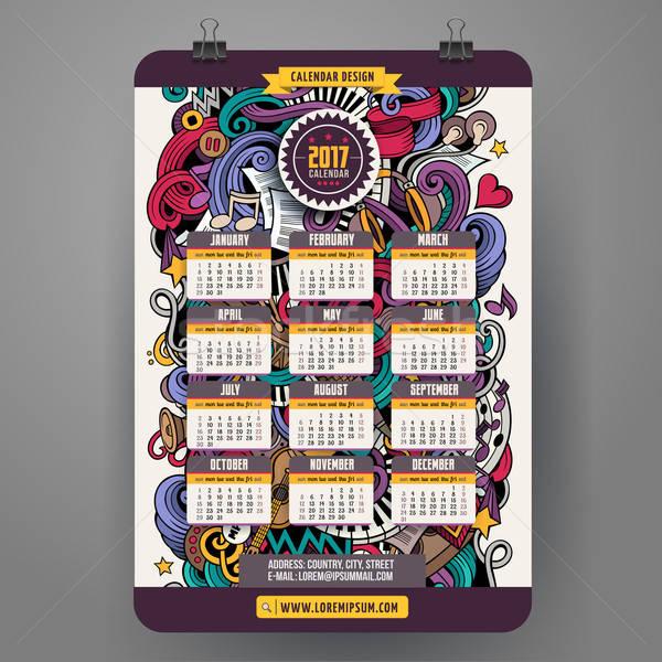 Cartoon doodles Musical 2017 calendar Stock photo © balabolka