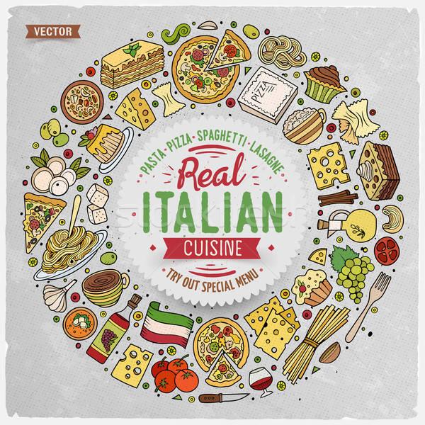 セット のイタリア料理 漫画 いたずら書き オブジェクト シンボル ストックフォト © balabolka
