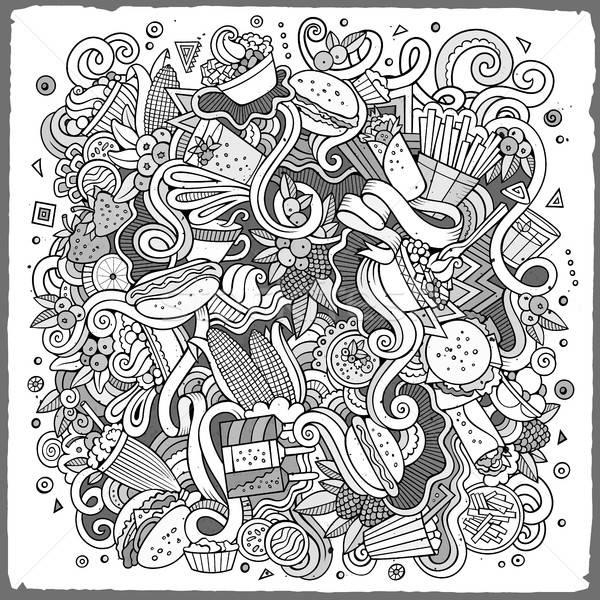 Foto stock: Desenho · animado · bonitinho · ilustração · esboço