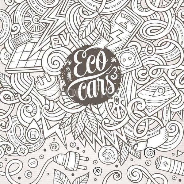 Cartoon doodles electric cars frame design Stock photo © balabolka