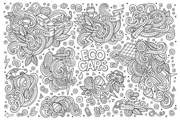 Line art vector doodle cartoon set of Electric cars objects Stock photo © balabolka