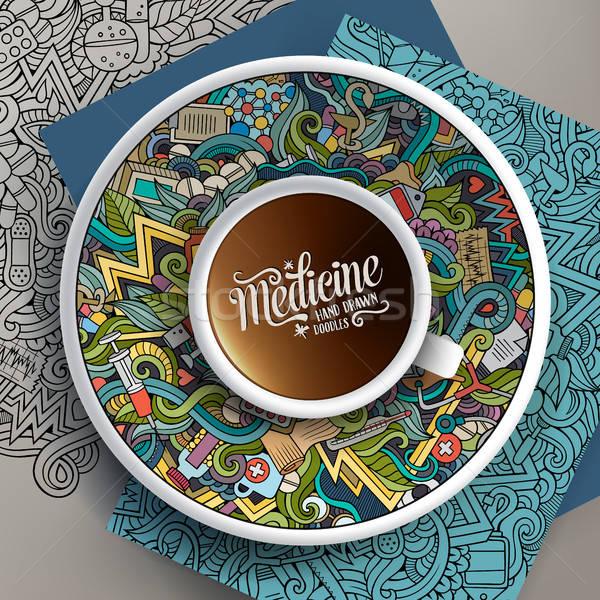 Vektor felfelé kávé orvosi firkák csészealj Stock fotó © balabolka