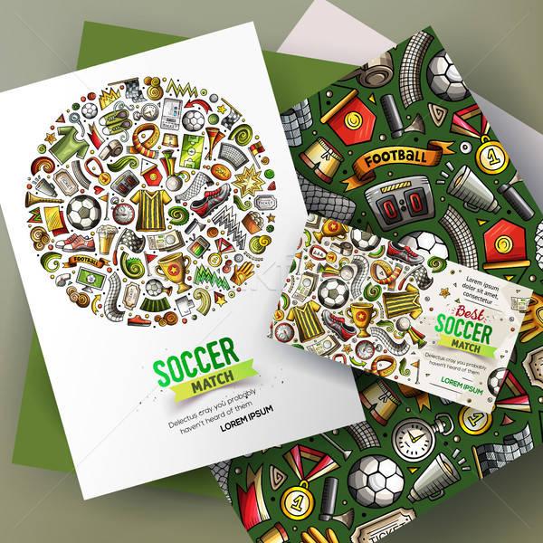 Cartoon vector voetbal corporate identiteit Stockfoto © balabolka