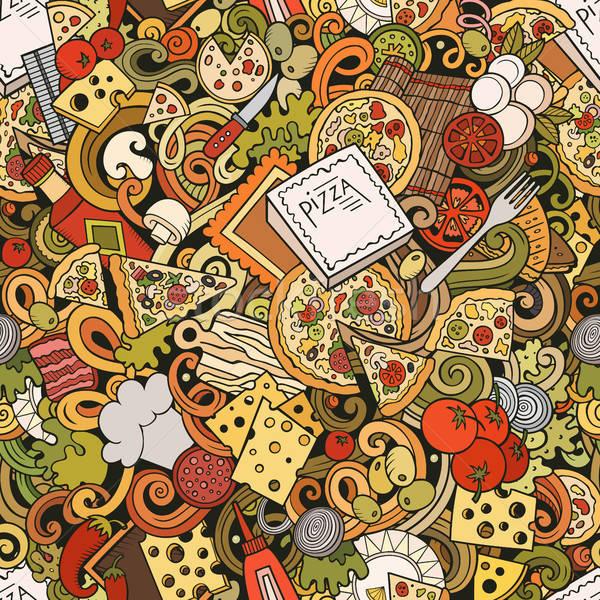 Rajz aranyos firkák kézzel rajzolt pizza végtelen minta Stock fotó © balabolka