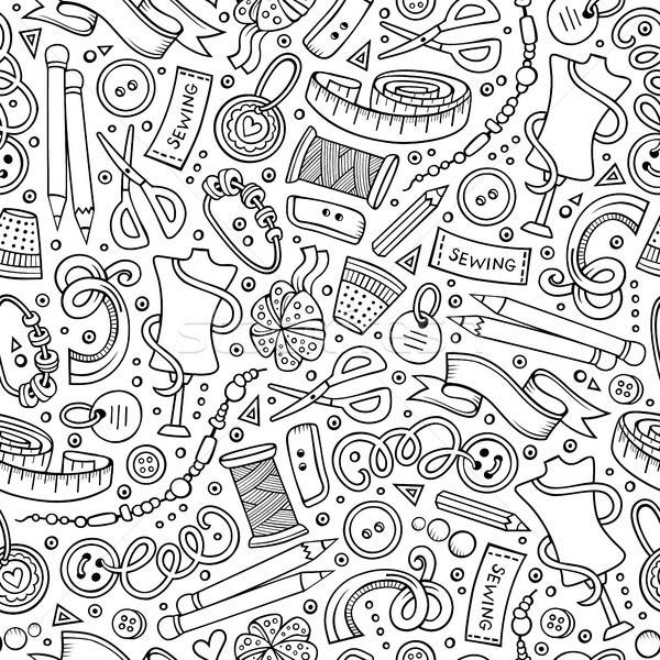 Cartoon cute hand drawn Handmade seamless pattern Stock photo © balabolka