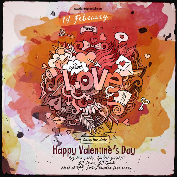 Stockfoto: Vector · liefde · aquarel · poster · ontwerp