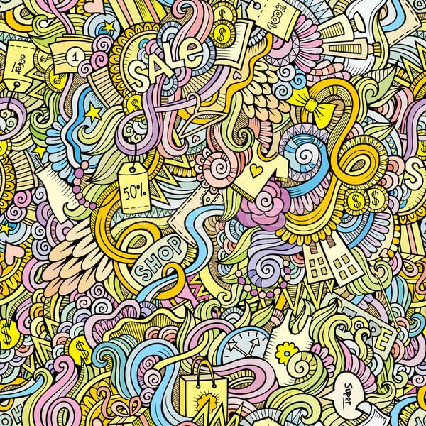 Firkák kézzel rajzolt vásár vásárlás végtelen minta rajz Stock fotó © balabolka
