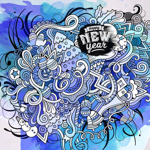 New Year doodles elements watercolor art background Stock photo © balabolka