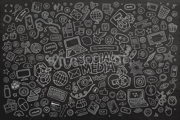 Vector chalkboard line art Doodle cartoon set of objects  Stock photo © balabolka