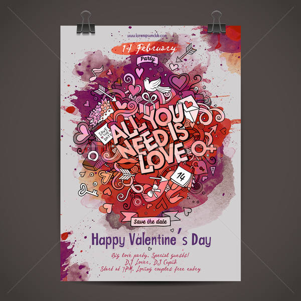 Stock photo: Cartoon vector hand drawn paint Love party poster
