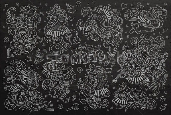 Chalkboard vector hand drawn doodles cartoon set of Music object Stock photo © balabolka