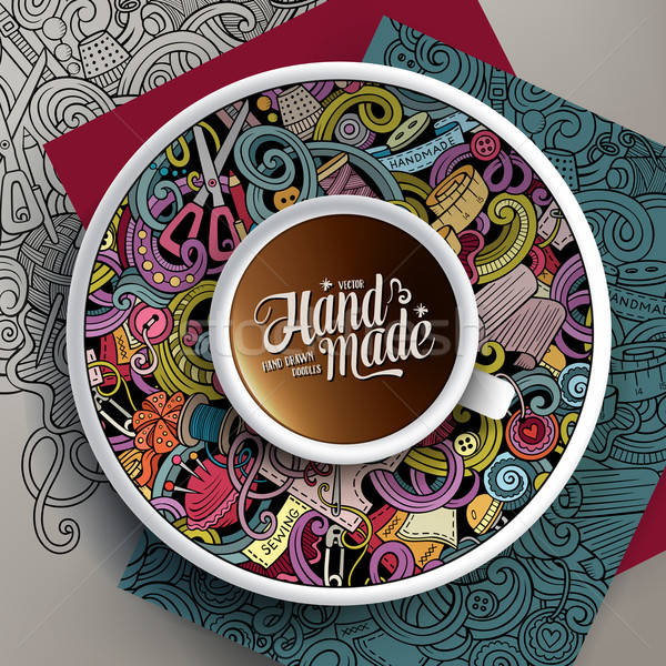 Wektora kubek kawy wykonany ręcznie bazgroły Zdjęcia stock © balabolka
