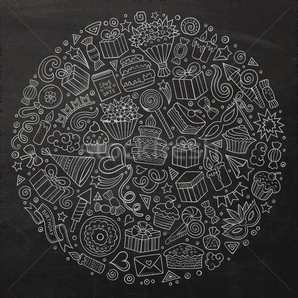 Stock photo: CoSet of Holidays cartoon doodle objects