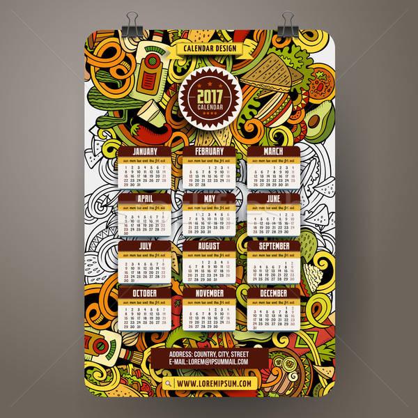 Cartoon mexicaans eten jaar kalender sjabloon Stockfoto © balabolka