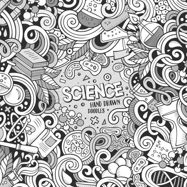 Cartoon cute doodles science frame illustration vector illustration ...