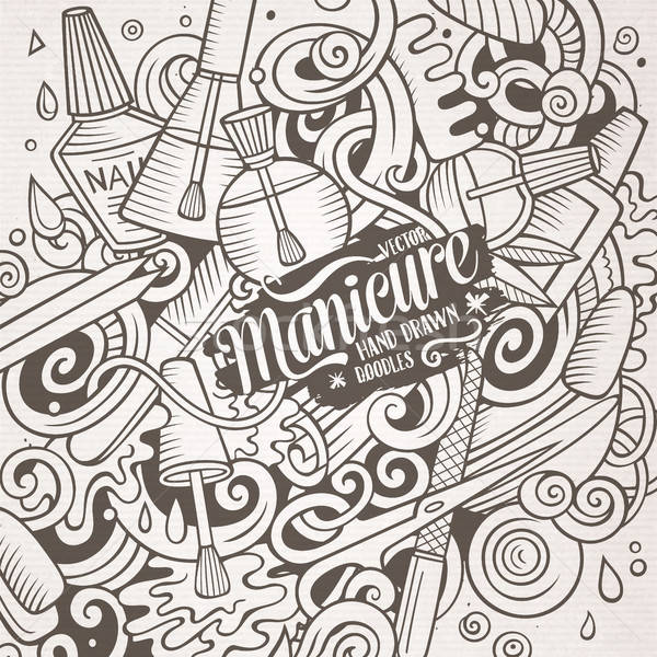 Stock fotó: Rajz · firkák · manikűrös · illusztráció · aranyos · kézzel · rajzolt
