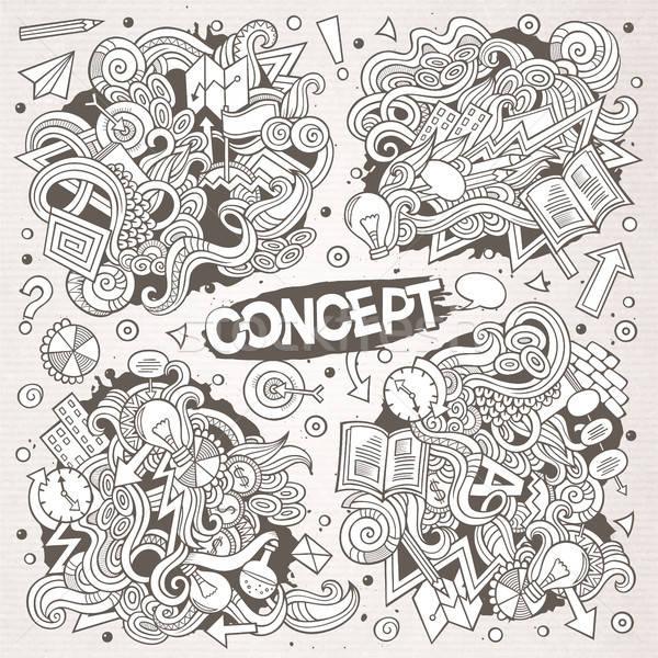 Cartoon cute doodles hand drawn Idea illustration Stock photo © balabolka