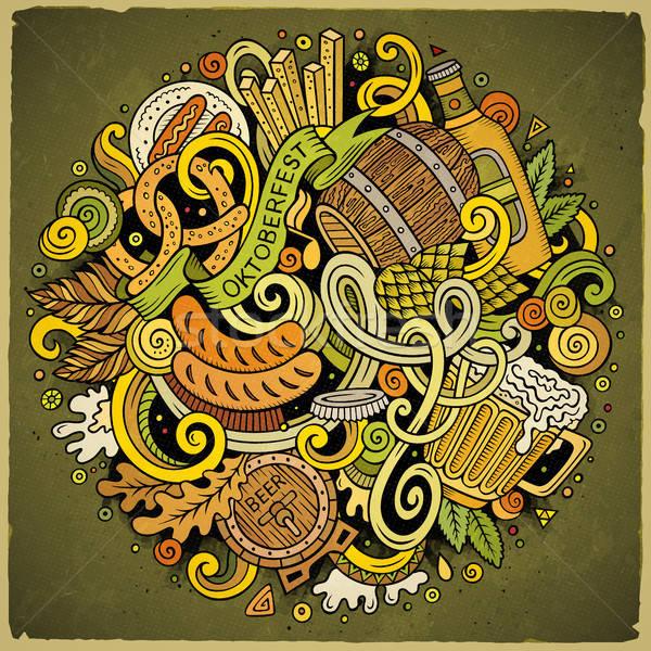 Cartoon cute garabatos dibujado a mano cerveza ilustración Foto stock © balabolka