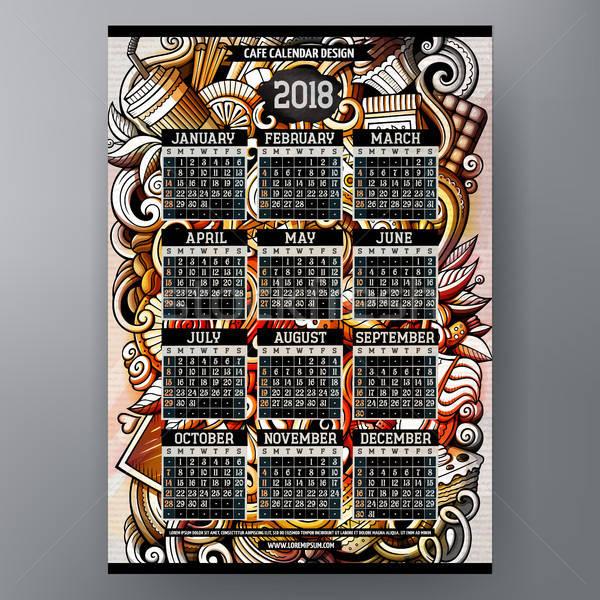 Cartoon colorful hand drawn doodles Cafe 2018 year calendar Stock photo © balabolka