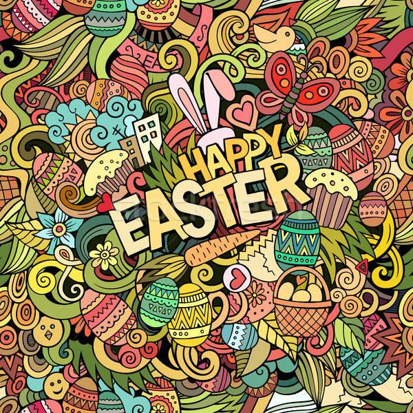 Cartoon hand-drawn doodles Happy Easter background Stock photo © balabolka