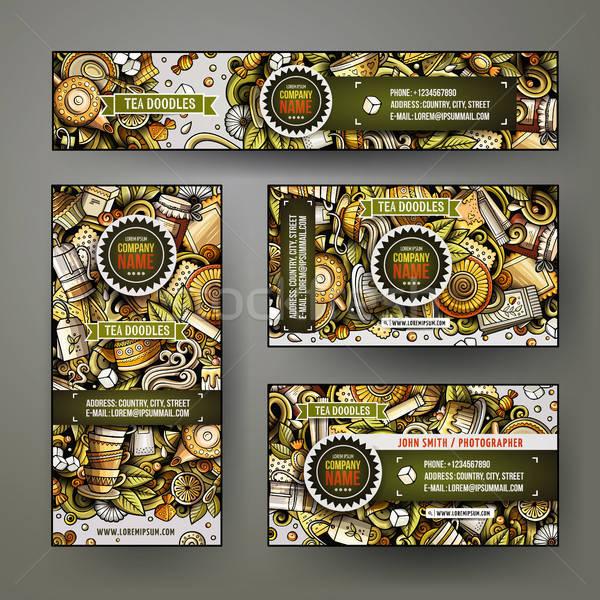 Corporate Identity vector templates set design with doodles hand drawn Tea time theme Stock photo © balabolka