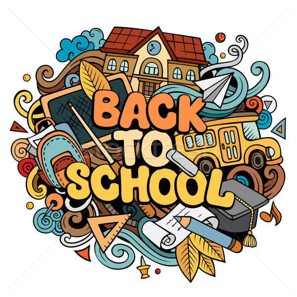 Cartoon cute doodles Back to School phrase. Colorful illustration Stock photo © balabolka