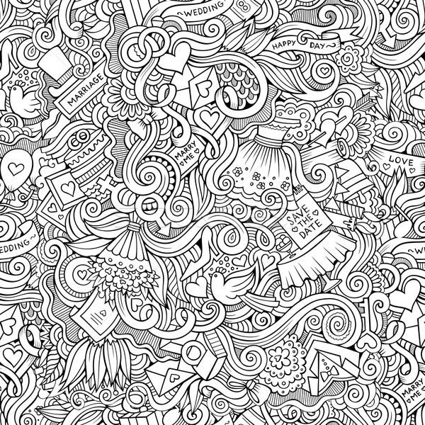 Cartoon doodles wedding seamless pattern Stock photo © balabolka