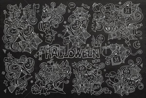 Tábla vektor kézzel rajzolt firka rajz szett Stock fotó © balabolka