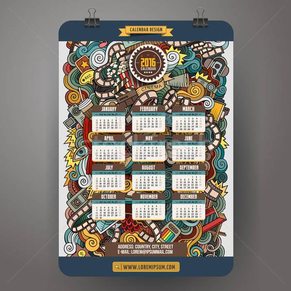 Firkák kézzel rajzolt színes rajz mozi naptár Stock fotó © balabolka