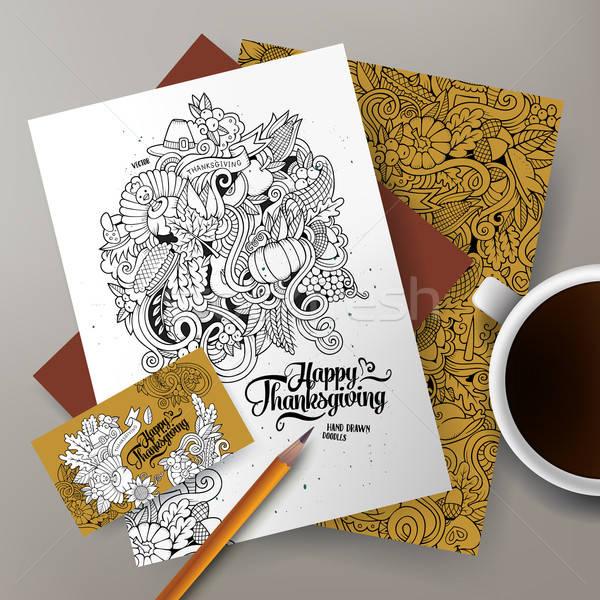 Corporate Identity vector templates set design with Thanksgiving theme Stock photo © balabolka