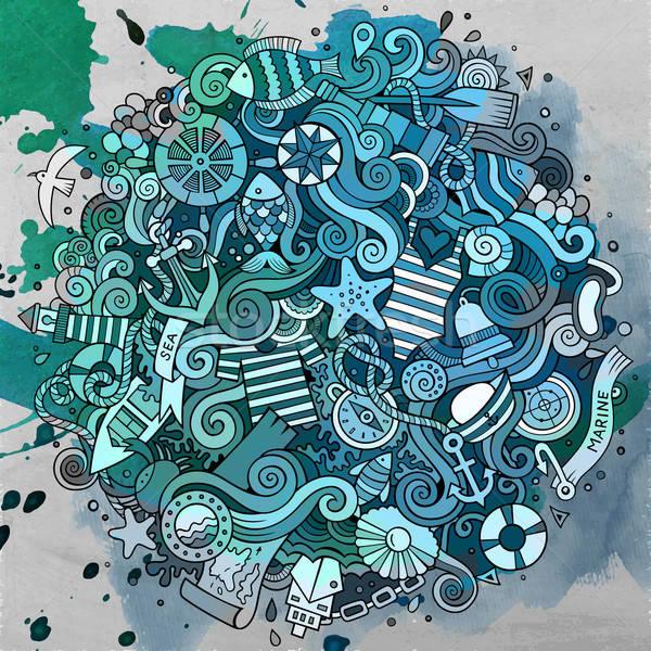 Rajz firkák tengerészeti tengeri illusztráció vízfesték Stock fotó © balabolka