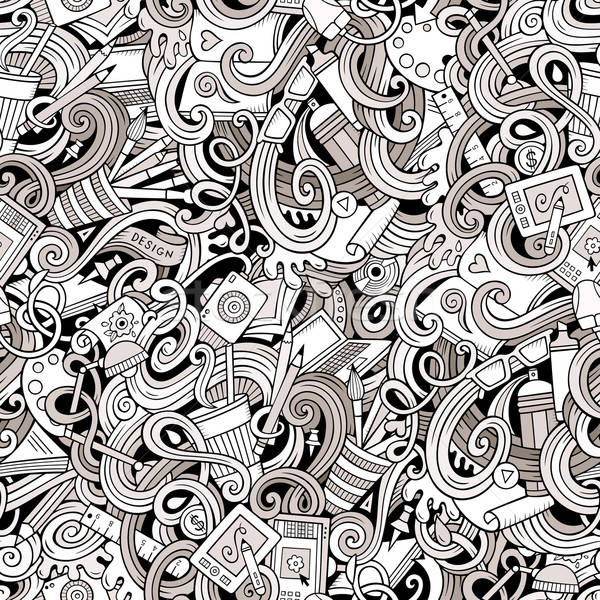 Cartoon hand-drawn doodles on the subject of Design seamless pattern Stock photo © balabolka