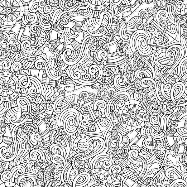 Cartoon morski bazgroły szczegółowy line Zdjęcia stock © balabolka