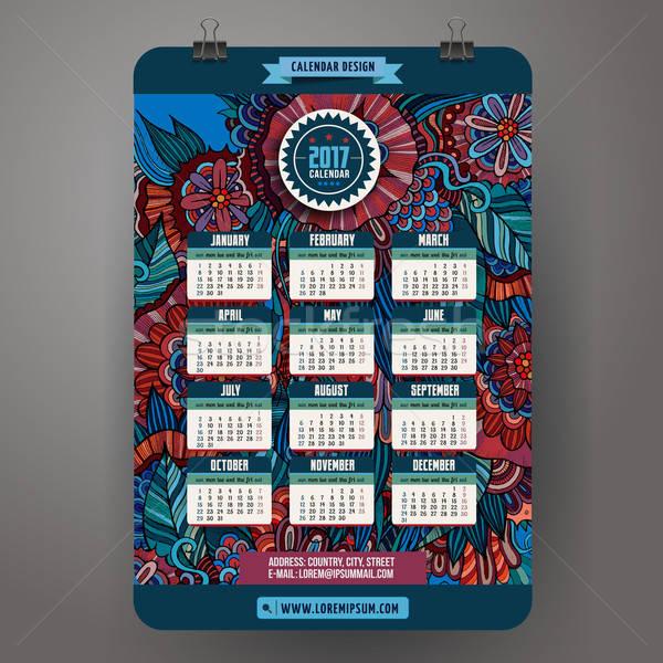 Doodles cartoon floral Calendar 2017 year design, English, Sunda Stock photo © balabolka