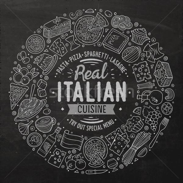 Set cucina italiana cartoon doodle oggetti simboli Foto d'archivio © balabolka