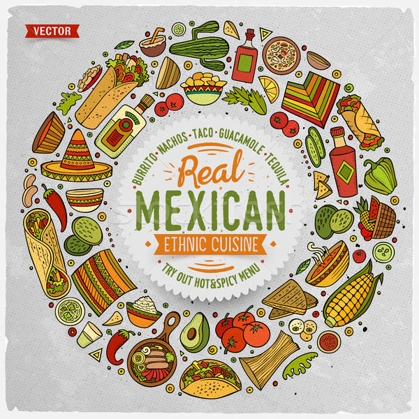 Set of Mexican food cartoon doodle objects, symbols and items Stock photo © balabolka