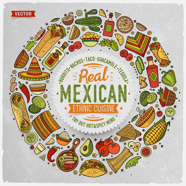 Set cibo messicano cartoon doodle oggetti simboli Foto d'archivio © balabolka