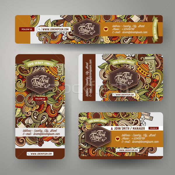 Corporate Identity set with doodles hand drawn Cafe theme Stock photo © balabolka