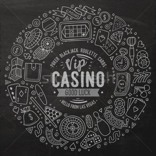 Establecer casino Cartoon garabato objetos símbolos Foto stock © balabolka