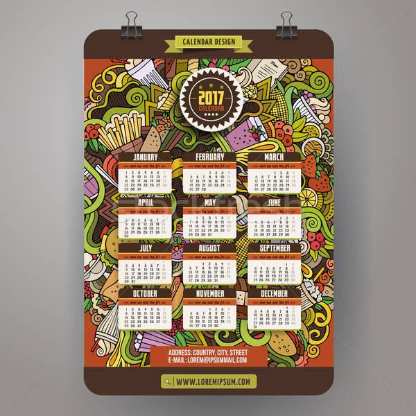 Cartoon doodles Fast food 2017 year calendar template Stock photo © balabolka
