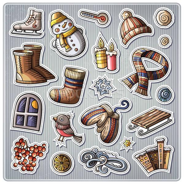 набор зимний сезон Cartoon вектора рисованной Сток-фото © balabolka