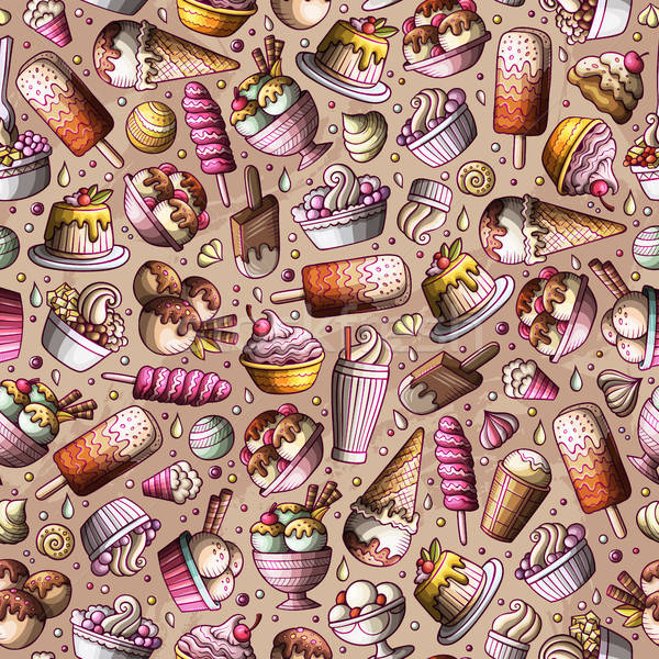 Cartoon hand-drawn ice cream doodles seamless pattern Stock photo © balabolka