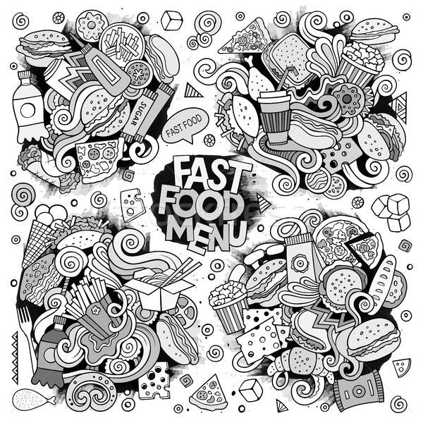 Line art vector hand drawn doodles cartoon set of food objects Stock photo © balabolka