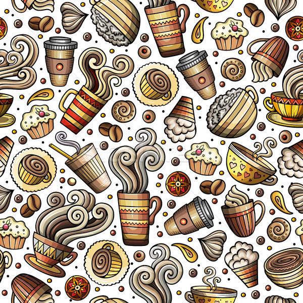 Cartoon Cafetería café Servicio té Foto stock © balabolka
