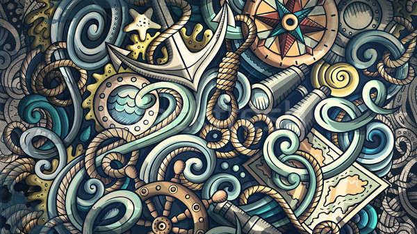 Doodles Nautical illustration. Creative marine background Stock photo © balabolka