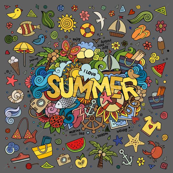 塗鴉 抽象 裝飾的 夏天 手 分子 商業照片 © balabolka