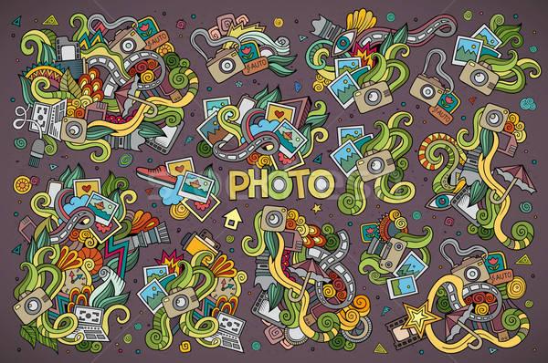 Foto d'archivio: Colorato · vettore · doodle · foto · set