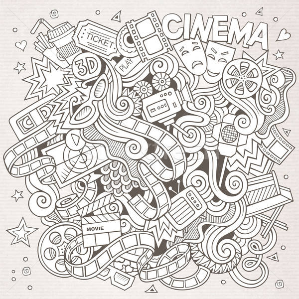 Cartoon vector hand-drawn Cinema Doodle. Sketchy design Stock photo © balabolka