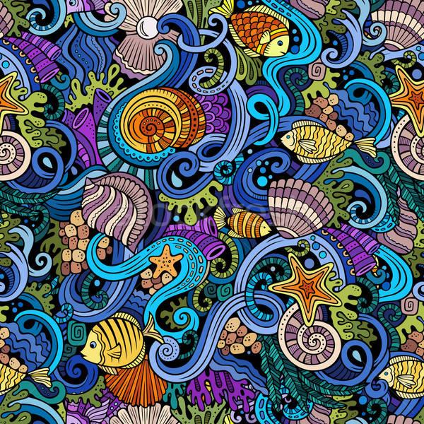 Stok fotoğraf: Karikatür · karalamalar · su · hayat · renkli