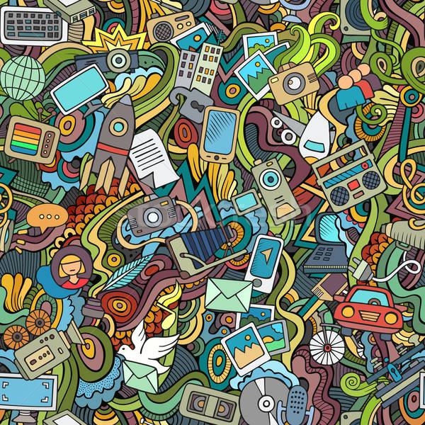 Cartoon vector hand-drawn Doodles on the subject of social media Stock photo © balabolka